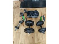 Weights and dumbbells. Selection of weights and sizes