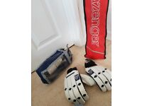 Slazenger V SXI Cricket bat with cover and ball and men's white gloves in good condition
