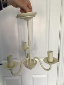 3 arm metal chandelier + shades