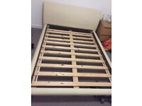 Double Bed Frame faux cream, good condition from smoke and pet free home selling for £60