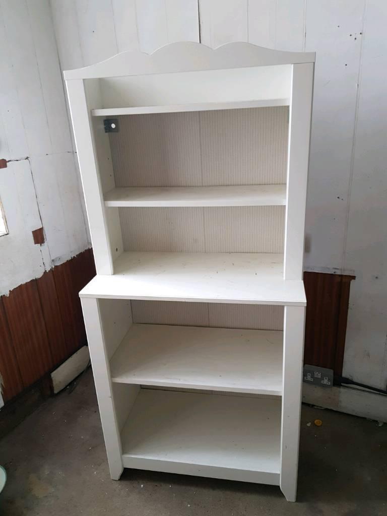 White Wooden Ikea Vintage Style Bookshelf Shelving Unit