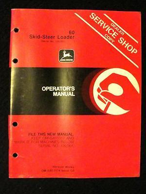 John Deere 60 Skid Steer Loader Tractor Operators Manual Ser 120001 Up Clean
