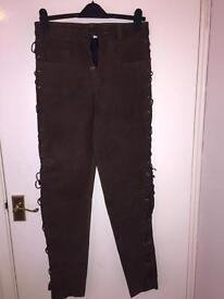 Suede motorcycle trousers