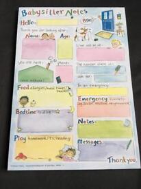 Babysitter note pad (unusual)