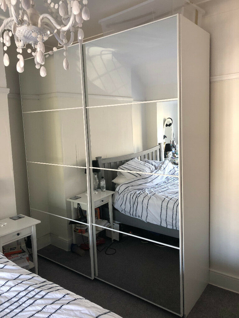 Ikea Pax White Wardrobe With Auli Mirrored Sliding Doors