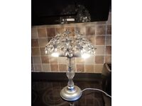 Silver Flower Table Lamp Chandelier Glass Antique Style