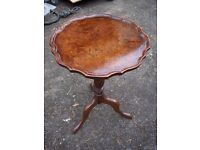 vintage wine table, occasional table, lamp table, burr walnut and mahogany c.1920