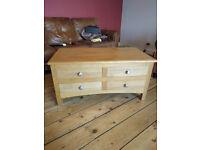 solid oak sideboard media tv drawer cabinet
