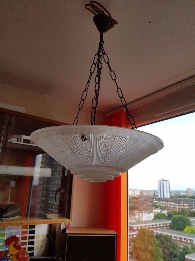 Original Art Deco Bowl Ceiling Pendant Light Chandelier French