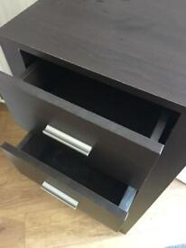 Black/Brown narrow chest of drawers
