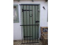 "Wrought Iron Fence Section/Security Gate. 68.5"" x 32""."