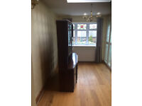 Sideboard with bar display cabinet, dark wood, Ercol style