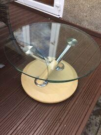 Light wood glass coffee table.