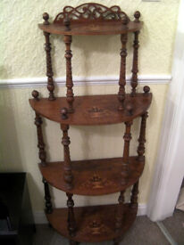 Edwardian Antique 4 Tier Semi-Circular Inlaid What Not Whatnot