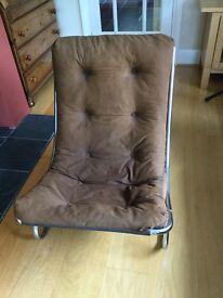 1970's retro lounge chair - chrome frame and brown corduroy