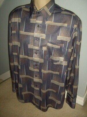 1970s Mens Shirt Styles – Vintage 70s Shirts for Guys Vintage 1970's Kingsport Button Up Disco Shirt Size Large Saturday Night Fever! $20.09 AT vintagedancer.com
