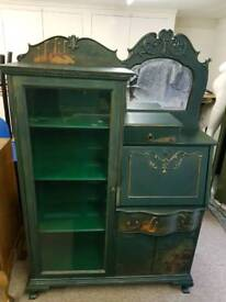 Painted writing bureau with display cabinet