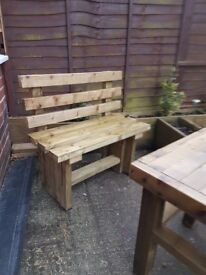 1200mm TIMBER BENCH with BACK - brand new / delivered
