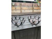 Hanging baskets cast iron horseshoes