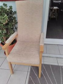 Highback Armchair, Light oak wood frame, with cream and beige upholstery