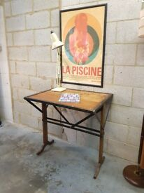 Vintage French Industrial Metal Desk
