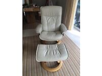 Stressless recliner chair and matching stool