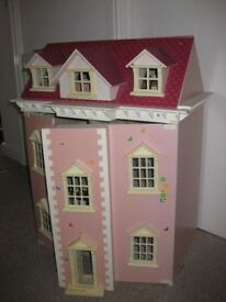 TRADITIONAL STYLE 3 STOREY DOLLS HOUSE - with furniture