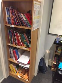 Book shelf with 4 shelves in pine. large study desk, 2 small study desks also in pine.