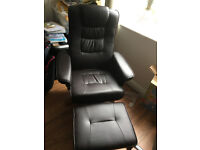 Brown Leather Reclining Swivel Chair With Foot Stool On Wooden Legs Brand New Assembled RRP £300