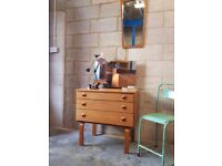 Mid Century Teak Vintage Chest of Drawers Mirror