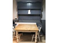 Solid wood farmhouse kitchen/dining table 3 chairs