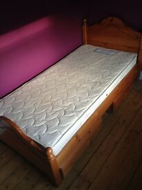 Wooden single bed frame with with storage drawers, single mattress included