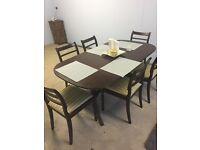 Reproduction antique dining room table and chairs