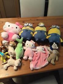 Teddies Minions and Hello Kitty