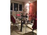 Stunning Glass Dining Table and 6 Chairs (including cushions)
