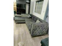 🔴MAKE THE COMFORT DEAL🔵Florence sofa-plush velvet left/right hand corner sofa-in grey color