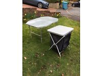 Camping table and camping kitchen