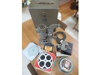 Vintage 1950s Bell and Howell 606M 8mm Projector With Case, Old Films and Screen