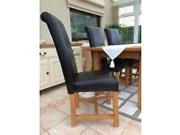 Solid oak and leather dining chairs (4) excellent condition