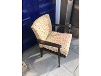 Vintage Parker Knoll chair in lovely colours, modern material.