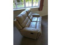 Beige 2 seater leather reclining sofa
