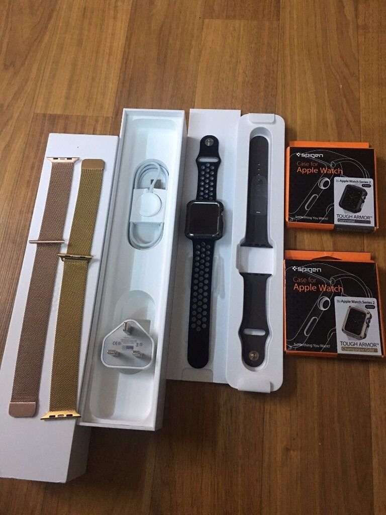 Apple watch 42mm series 2 Sportextrasin Newtownabbey, County AntrimGumtree - Apple Watch Series 2 42 MM Gold Aluminium with cocoa band Plus Speigen tough case protector in Black plus brand new Speigen Tough case protector in gold Plus Gold Melanese strap plus Rose Gold melanese strap plus black/ grey nike strap This watch is...