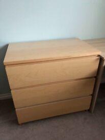 Ikea Pine Malm drawers