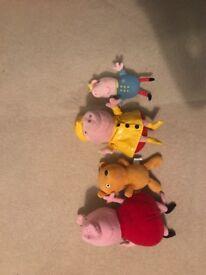 Peppa cuddly toy set - peppa, George and teddy