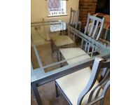 Quality M&S Glass Dining Table with 6 Chairs
