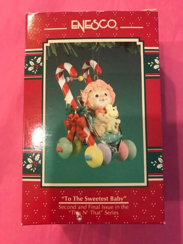 Enesco Ornament 1994 To the Sweetest Baby 2nd Final This n That Stroller Mouse