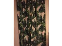 Curtains - Tropical print, green and cream, hipster, kitsch