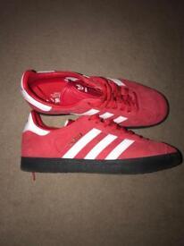 Red Adidas gazelles size 8