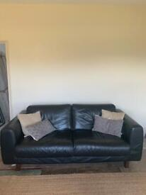 HABITAT Black Leather Sofa