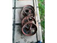 Cast iron vintage antique wheels shepherds hut chicken coop project